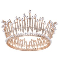 Crystal Imitate Pearl Tiara Crown Bridal Hair Accessories Wedding Quinceanera Tiaras And Crowns Pageant Diamante Tiara
