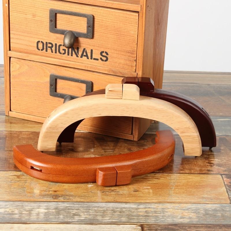 20 Cm Nature Black Solid Wood Diy Handbag Accessories Wooden Purse Frame Wholesale Screws Obag Wooden Wallet Wooden Handles