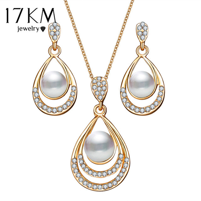 17KM Brinco Bridal Simulated Pearl Jewelry Sets Women Fashion Oval Necklace Crystal Earrings For Wedding Party Accessories Gifts
