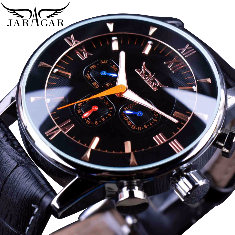 Jaragar Classic Automatic 6 Hands Calendar Luminous Hands Black Leather Band Mens Watches Business Luxury Mechanical Male Clock
