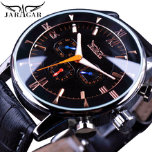 Jaragar Classic Automatic 6 Hands Calendar Luminous Black Leather Band Mens Watches Business Luxury Mechanical Male Clock