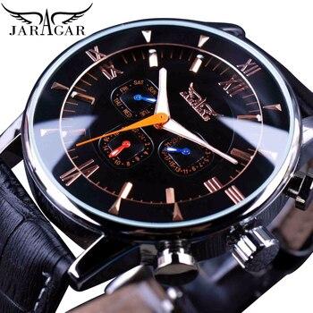 цена Jaragar Classic Automatic 6 Hands Calendar Luminous Hands Black Leather Band Mens Watches Business Luxury Mechanical Male Clock онлайн в 2017 году
