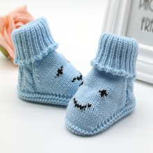 Hot Infant Shoes Autumn Winter Baby Snow Boots Knitted Wool Thicken Warm Infant Baby Shoes Footwear forborn(China)