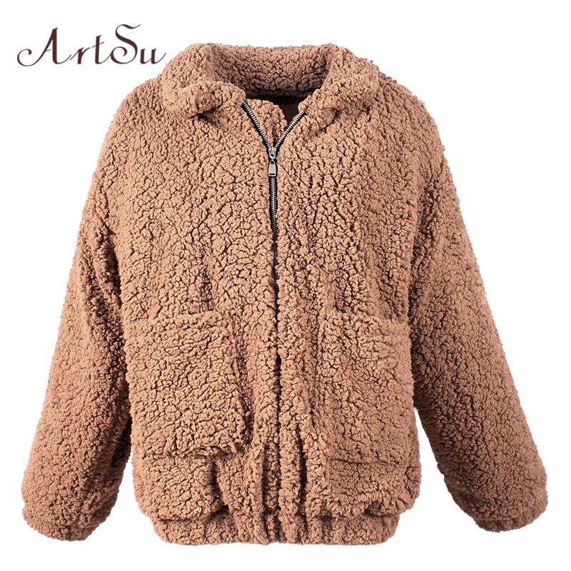 ArtSu Faux Fur Oversized Jacket Women Coat Winter Warm Turn-down Collar Streetwear Jackets Autumn Outerwear 2017 ASCO30018