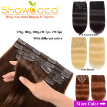 ShowCoco Clip in Hair Extensions Human Hair 200G 100% Natural Extension Remy 10 pieces Silky Straight Human Hair Clip ins(China)