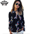 Women Shirts Blouses Long Sleeve Chiffon Blouse 2016 Fashion Floral Print Tops Blouses Casual Plus Size Tops Chemisier Femme