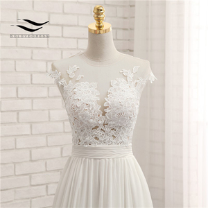 Image 5 - Sexy V neck  Chapel Train Long Zipper Cap Sleeves Lace Applique A Line Beach Wedding Dress Real Photo Wedding Gown SLD W592