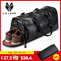 LIELANG Men's Black handbag Travel Bag Waterproof Leather Large Capacity Travel Duffle Multifunction Tote Casual Crossbody Bags