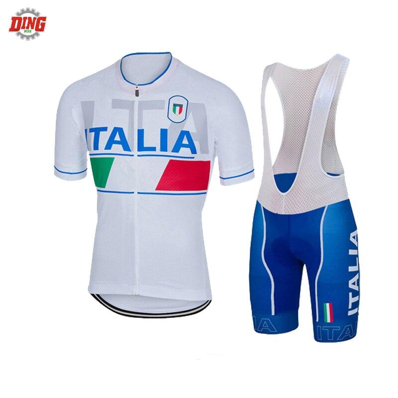 Itália ITALIA EQUIPE NEW branco conjunto camisa de ciclismo ropa ciclismo homens conjunto camisa da equipe manga curta bike wear bib Almofada de Gel MTB