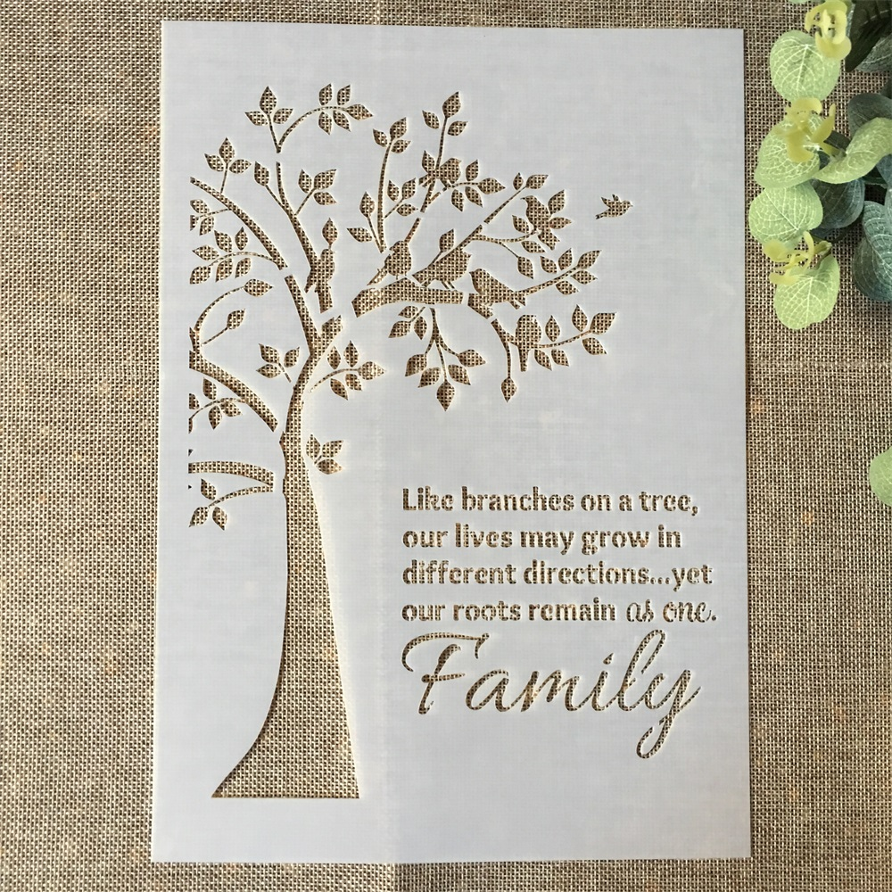 29*21cm Tree Family Words DIY Layering Stencils Wall Painting Scrapbook Coloring Embossing Album Decorative Paper Card Template
