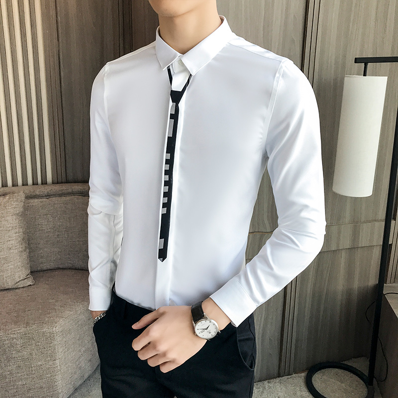 Fashion Business Banquet Men Dress Shirt Long Sleeve Tops Slim Design Comfortable Breathable Men Leisure Shirts Asian Size 5XL