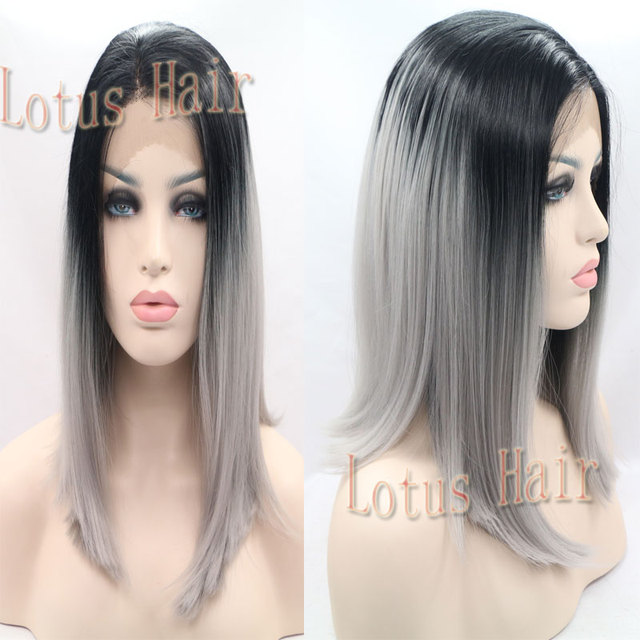 Silk Straight Ombre Silver Grey Synthetic Wigs 12 16 Inch Short Hair Bob Lace