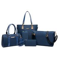 6PCS/SET PU Leather Women Handbags Shoulder Crossbody Bag Purse Wallet Women Envelope Messenger Bags Female Composite Bag