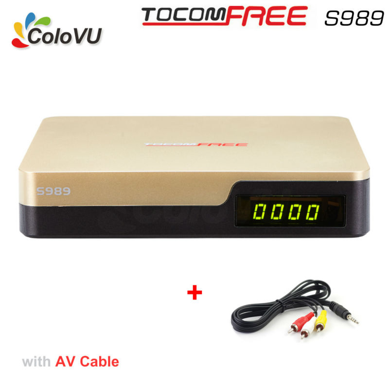 Satellite TV Receiver TocomFree S989 + AV Cable with Free IKS SKS IPTV Digital TV Box for Argentina / Colombia / South America azfox dvb s2 x7 mpeg4 1080p nagra3 satellite tv receiver w w free iks account for south american