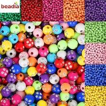 Горячая Распродажа 100 шт./лот 8 мм разноцветные блестящие акриловые Круглые бусины для самостоятельного изготовления браслетов и ожерелий ю...