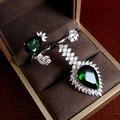YoGe RC0107 Luxo 925 sterling silver AAA zirconia waterdrop pedra anel de dedo duplo, peça de mão, jóias finas