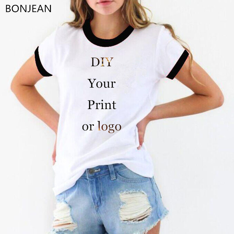 Customized Print Tee Shirt Femme Your OWN Design Brand Logo/Picture White Custom  Women T-shirt Plus Size T Shirt Female