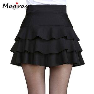 Image 1 - Magiray בתוספת גודל גבוהה מותן מיני חצאית 3 שכבות לפרוע חצאיות נשים קיץ 2020 מרופד קצר Saia קו נשי חצאית C445