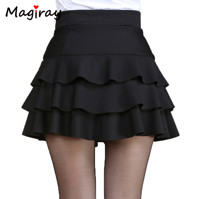 Magiray Plus Size High Waist Mini Skirt 3 Layers Ruffle Skirts Womens Summer 2019 Lined Short Saia A Line Female Skirt C445