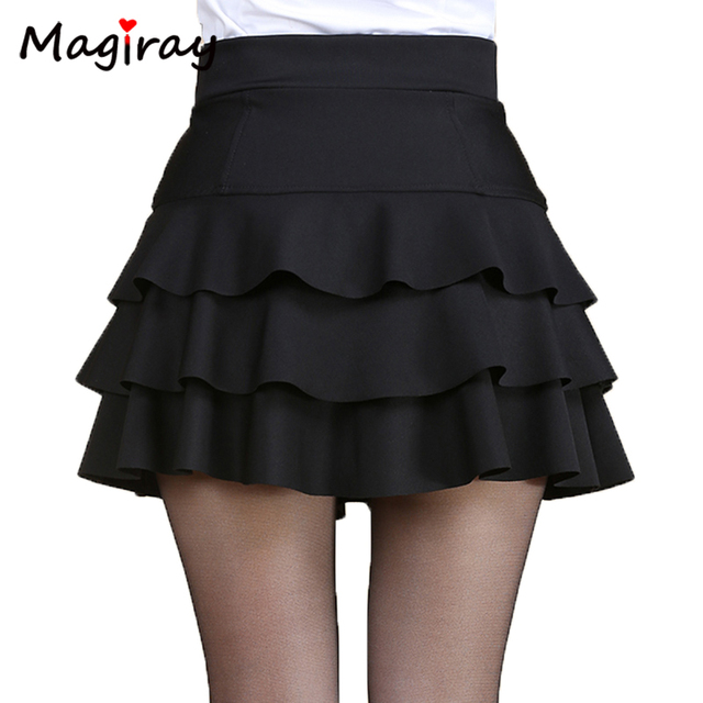 4b3cbdcc7d2 Magiray Plus Size High Waist Mini Skirt 3 Layers Ruffle Skirts Womens Summer  2019 Lined Short