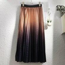 2018 Autumn Top Fashion Gradient Color Velvet Pleated Long Skirt Metallic Multi-color Pleuche Winter A-line Skirts Purple Blue