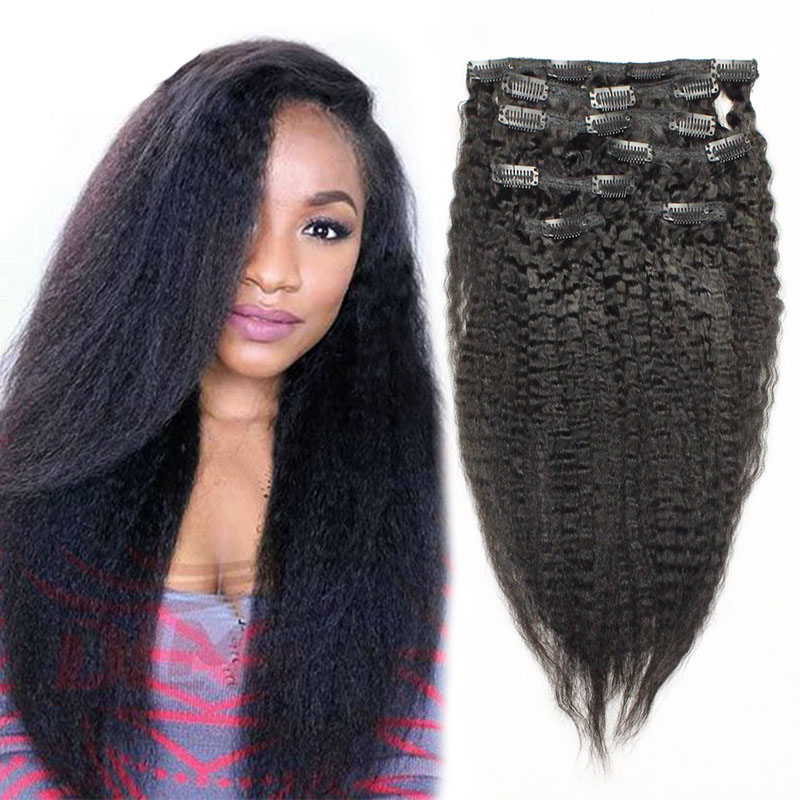 7A Italian Coarse Yaki Clip In Hair Extensions Brazilian Kinky Straight Clip In Human Hair Extensions For Black Women 120G