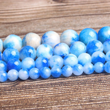 LanLi fashion natural Jewelry 6/8/10/12mm blue The Persian jades Loose beads DIY woman bracelet necklace ear stud accessories