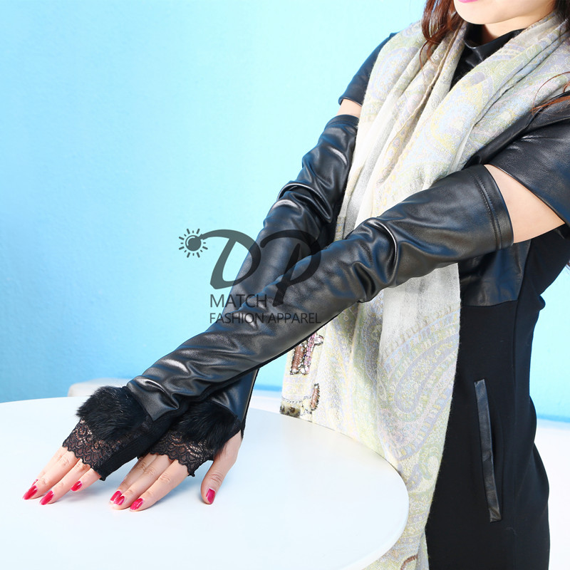 2019 Special Offer Women Solid Autumn And New Fashion Rabbit Gloves Knitting Stitching Ladies Warm Leakage Finger Wholesale
