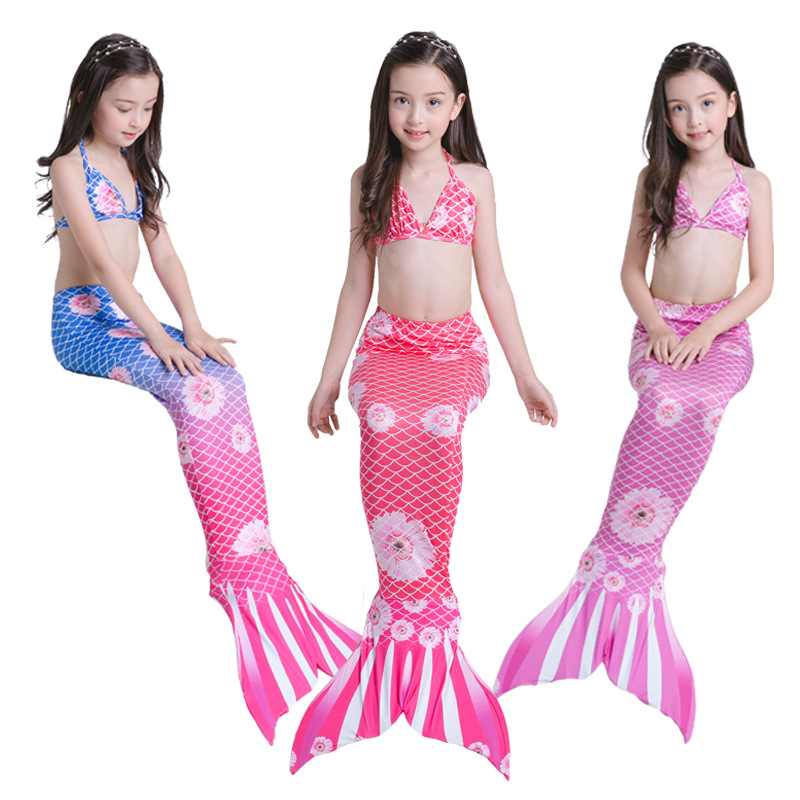 3PCS/SET 3Y-9Y Girls Mermaid Tail costumes Swimmable Bikini Set Bathing Suit Cosplay Baby girl kids Mermaid Tail fancy Dress
