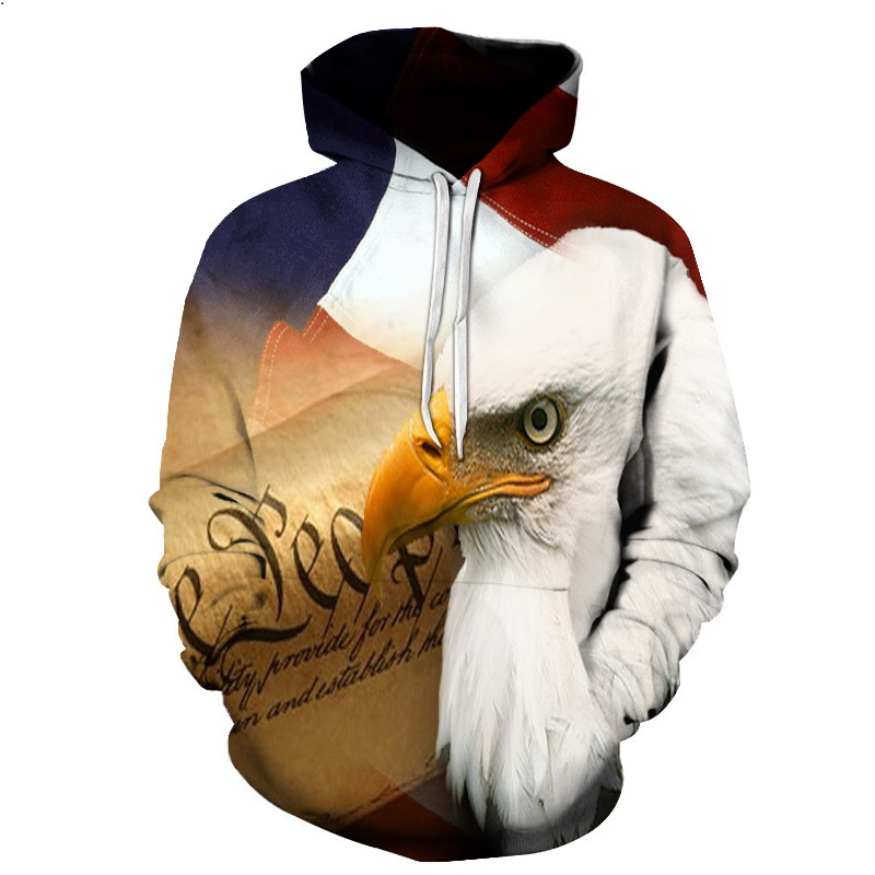 Eagle 3D Print Hoodies Sweatshirts Men Fashion American Flag Hooded Sweats Tops Hip Hop Unisex Graphic Pullover 3D Hoodie