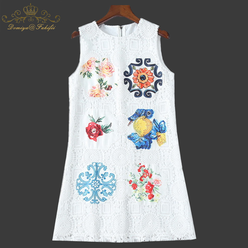 2018 Brand Summer Runway Tank Dress Women's High Quality Fashion Applique White Lace Dresses Luxury Girl Dress Family Clothes 2018 summer holidays women dress v neck embroidery lantern sleeve runway female lace crochet pleated dresses a line high quality