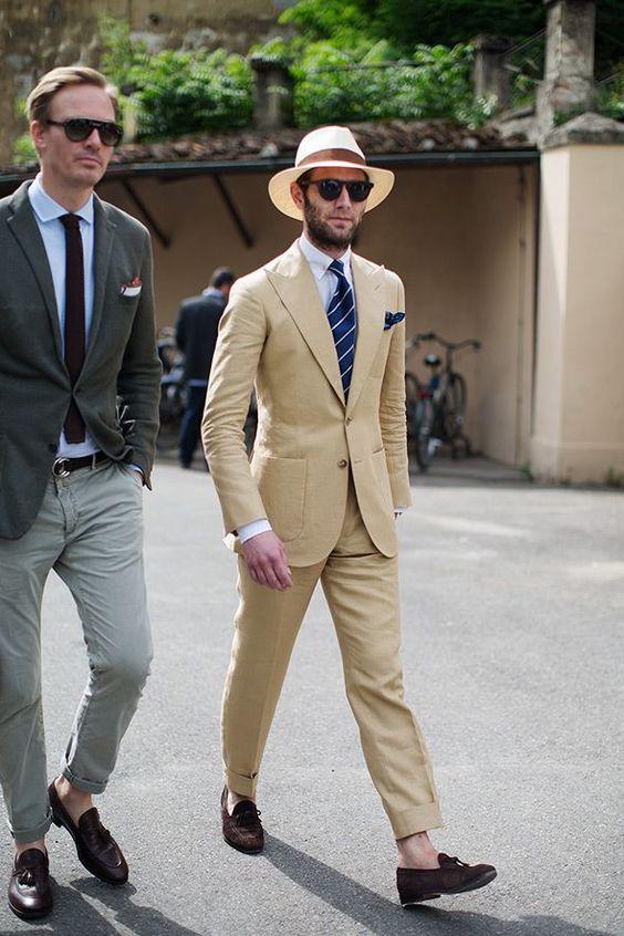 Latest Coat Pant Design Khaki Beige Linen Beach Men Suit