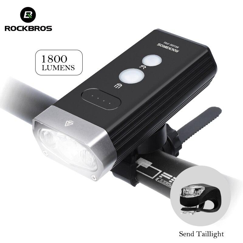 ROCKBROS vélo vélo lumière avant 1800Lm phare 2 Leds Rechargeable vélo lampe lanterne lampe de poche pour accessoires de vélo