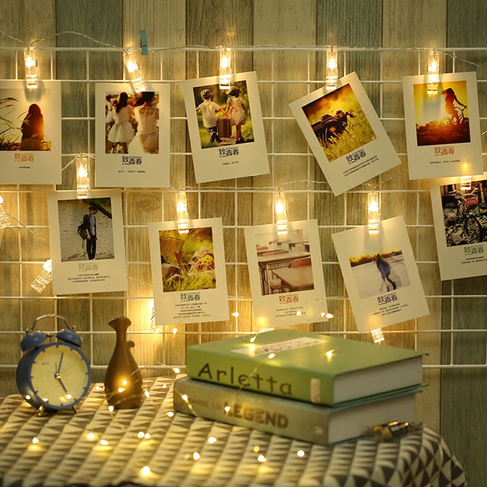 ANBLUB 1M 10LEDs 2M 20LEDs Photo Card Wall Clip Fairy LED String Light Home Christmas Holiday Decoration Battery Powered Lamps