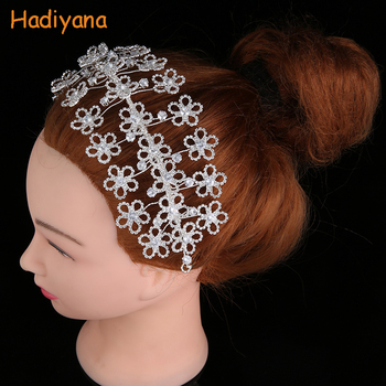 Crown And Tiaras Hadiyana New Simple Three Rows Flowers Designed With Shiny Zircon Female Party BC4718 Tocado suave