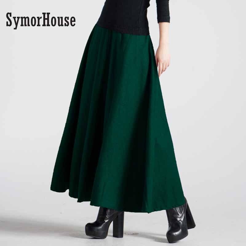 Retro Autumn Winter Women Faldas Long Skirt Jupe High Waist Elegant Pleated Woolen Skirt Dark Green