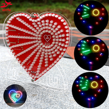 New green heart shaped diy kit lights cubeed gift LED Music Spectrum,led electronic