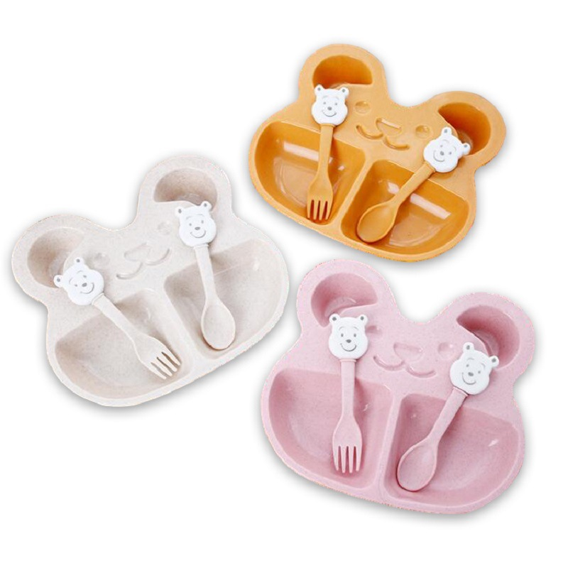 3Pcs Set Cartoon Beer Kids Wheat Plates Dinner Bowl Children Training Dinnerware Baby Feeding Food Tableware Solid Toddle in Dishes from Mother Kids