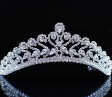 Floral Tiaras Brides Flower Handmade Crowns Clear Crystal Rhinestones Headband Headpiece Pageant Party Prom Hair Jewelry