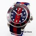 Повседневные мужские механические часы с синим красным циферблатом  40 мм