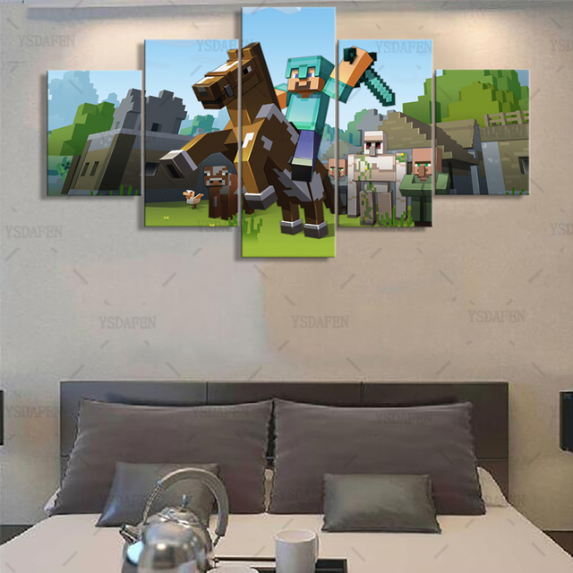 5 Pieces Canvas Painting Game Poster Minecraft Wall Art Home Decoration Pictures Printed Decor