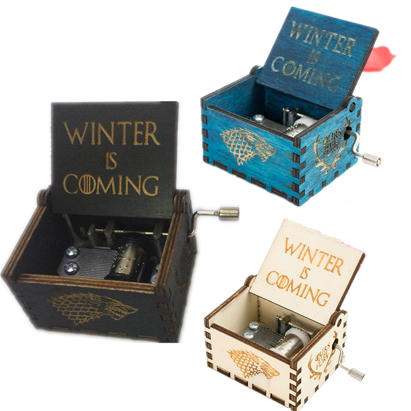 Game of Thrones Theme Handmade Engraved Wooden Music Box Crafts Cosplay