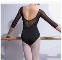 Adult Gymnastics Leotard Black Mesh Three Quarter Sleeve Ballet Leotards For Women Dance Wear Can Insert