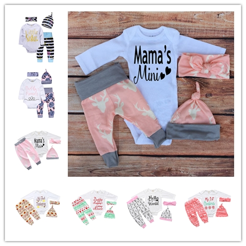 New arrival newborn ins girls letters long sleeve romper animal print pant hat headband 4pcs baby