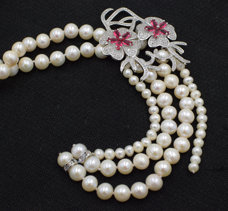 freshwater pearl white near round pendant necklace 18inch FPPJ wholesale beads nature freshwater pearl white near round and red jade leopard clasp necklace 18inch fppj wholesale beads nature