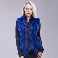 FXFURS Women's Lady Genuine Real Knitted Rabbit Fur Vests tassels Raccoon Fur Trimming Collar Waistcoat Fur Sleeveless Gilet