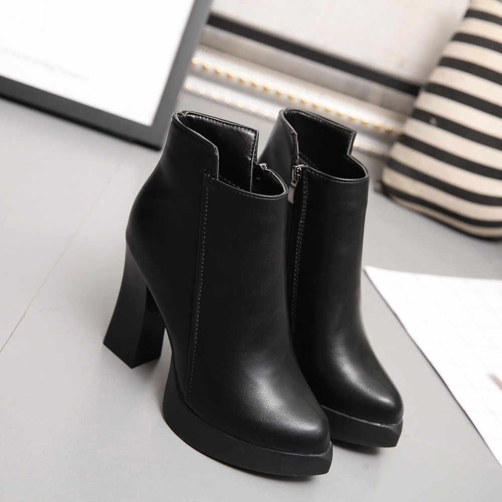 933add4c012 Indira New Arrival High Quality Winter High Heel Boots Pointed Martin Boots  Short Thick Short Boot