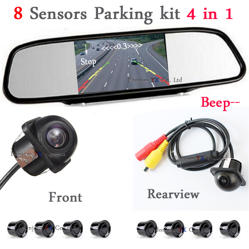 Wholesale Car Parking Sensor 8 Redars Alarm + 5 Auto Mirror Monitor + Front Camera + Rear view Camera Reverse Kit Parking Assist new set 4 89341 30010 b5 pdc parking distance sensor reverse assist for toyota