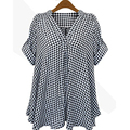 2015 Women Shirt Spring Summer Black and White Plaid Short Sleeve Plus Size Shirts blusa feminina