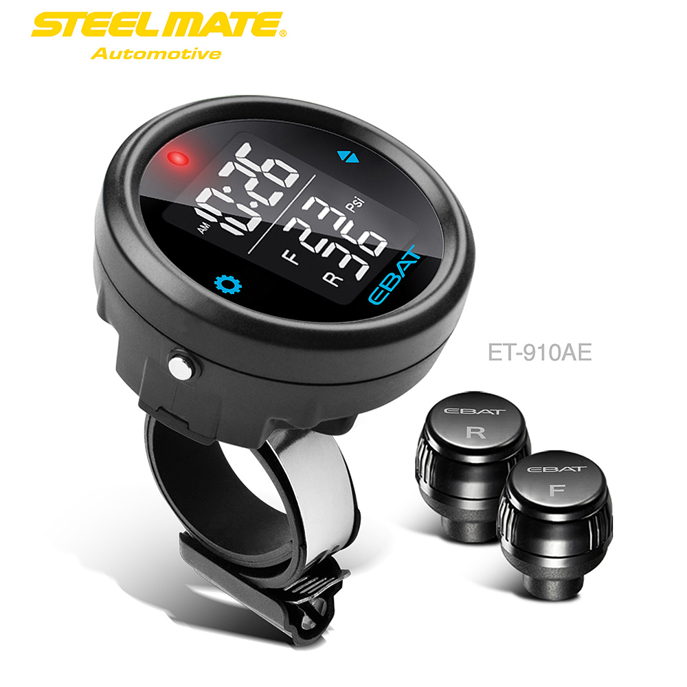 Steelmate EBAT ET-910AE 2-sensor Wireless TPMS LCD Motorcycle Tire Pressure Monitor System цена